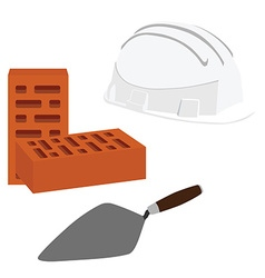 Spatula brick and helmet vector