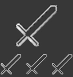 Silver line sword logo design set vector