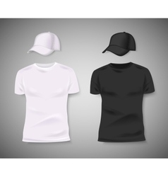 Collection of men black and white t-shirt and vector
