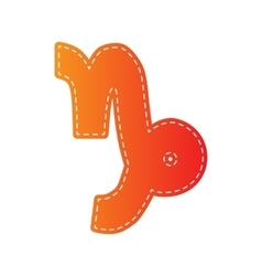 Capricorn sign  orange applique vector