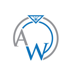 aw letter ring logo vector image vector image
