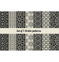 Black and white arabic style patterns vector image vector image