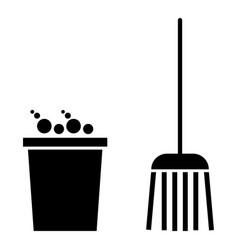 Bucket and broom the black color icon vector