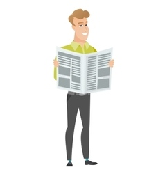 Business man reading newspaper vector
