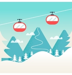 Cable cars and snowy mountain landscape ski vector