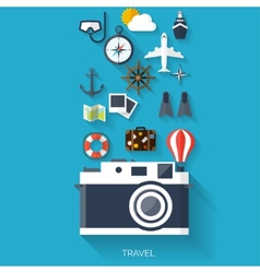 Camera flat icon world travel concept background vector