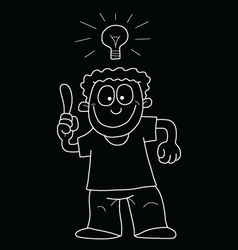 Cartoon man with idea vector image vector image