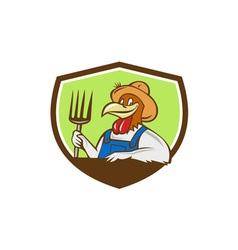 Chicken farmer pitchfork crest cartoon vector