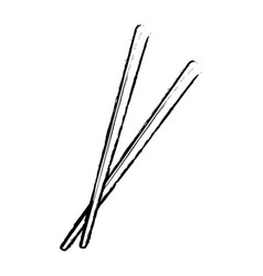 chopstick japanese bamboo element eat icon vector image