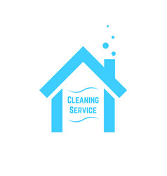Cleaning service icon with blue house vector