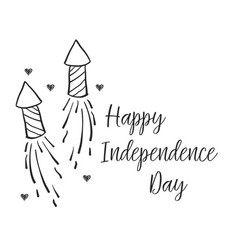 Collection independence day card hand draw vector