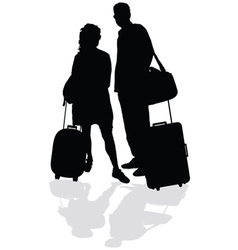 couple with a suitcase vector image vector image