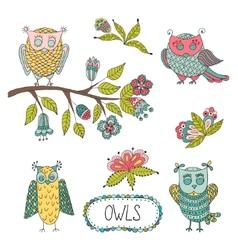 Cute cartoon owls flowers brunche vector