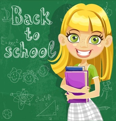 Cute teenager girl at the board ready to learn vector image vector image
