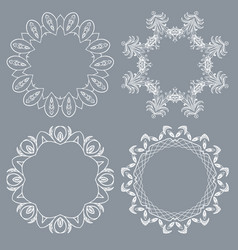 Decorative round frame and label set vector