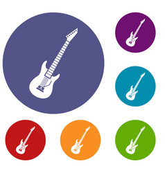 Electric guitar icons set vector