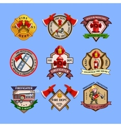 Firefighters Emblems Labels Collection vector image vector image