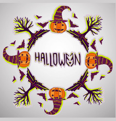 halloween background pumpkin bats and trees hand vector image
