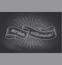 herzlich wllkommen old school vintage ribbon vector image vector image