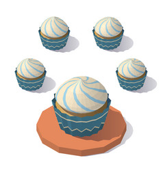 low poly christmas muffin vector image