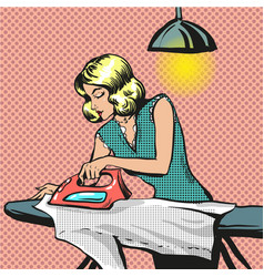 pop art of woman ironing vector image