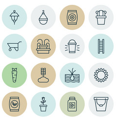 Set of 16 gardening icons includes fertilizer vector