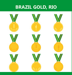 set of gold medals icons brazil rio summerflat vector image vector image