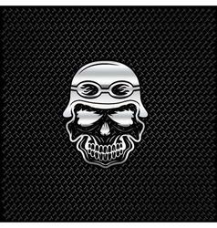 Silver skull in helmet on metal background biker vector