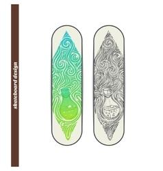 Skateboard design alchemical bottle vector