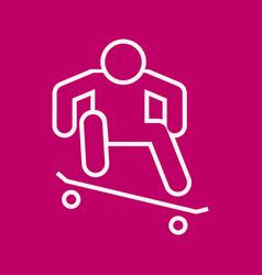 Skateboard ollie sport outline figure symbol vector