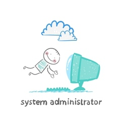 System administrator to the computer flies vector