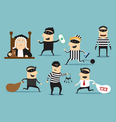 Thief robber and judge crime or punishment vector