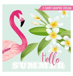 Tropical Graphic Design - Flamingo and Flowers vector image vector image