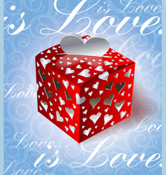 Valentines day gift on blue background vector