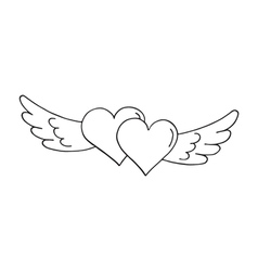 Valentines hearts with wings vector