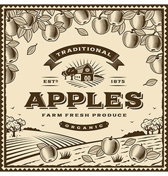 Vintage brown apples label vector image vector image