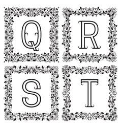 Vintage monograms set q r s t outline letters in vector