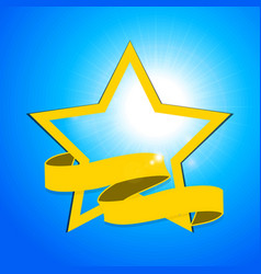 Yellow star and banner over blue sky vector