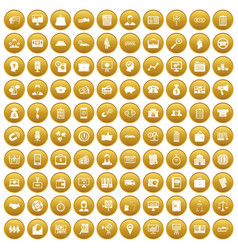 100 business group icons set gold vector