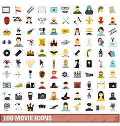 100 movie icons set flat style vector