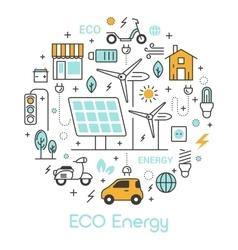 ECO Green Energy Thin Line Icons Set vector image