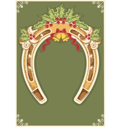 Christmas horseshoe card with holly berry leaves vector
