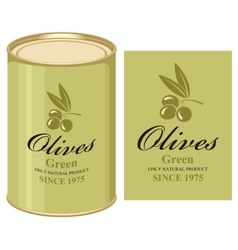 Tin can with label of green olives vector