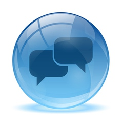 Blue abstract 3d talk icon vector