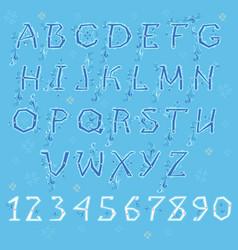 Blue winter alphabet vector