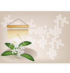 Musical chimes jasmine background vector