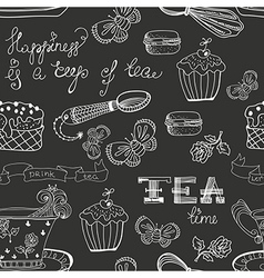 Black and white tea time pattern vector