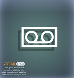 Audio cassette icon symbol on the blue-green vector