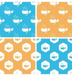 Hot soup pattern set colored vector