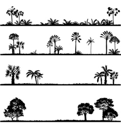 Set of palm tree silhouettes vector